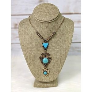 Goldtone Arrowhead Turquoise Necklace